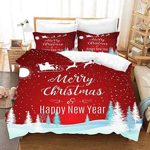 JSDWHY Christmas Series Duvet Cover Set, 100% Polyester Microfiber Santa Quilt Cover,-Anime_GB-Single140cm×210cm