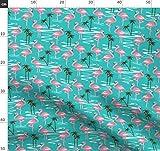 Flamingo, Minzgrün, Palmen, Wasser, Mitte Des Jahrhunderts