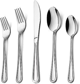 60-Piece Silverware Set for 12, HaWare Stainless Steel Flatware Eating Utensils, Classic&Elegant Design, For Home/Restaura...