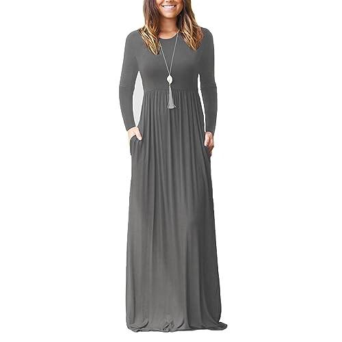 f5e79ff5f6 Viishow Women's Long/Short Sleeve Empire Waist Maxi Dresses Long Dresses  with Pockets
