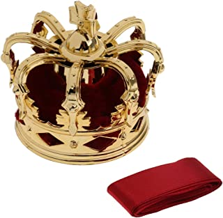 Lovoski Delicate Mini Queen Crown Tiara Hair Costume Headwear Women Party Accessories - Wine Red