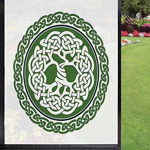 Celtic Window Film Window Film Privacy,Illustration of Celtic Tree of Life on a Green Circle with Frieze Window Decal for Home Office UV Protection,White Dark Teal Fern Green 24' x 36'