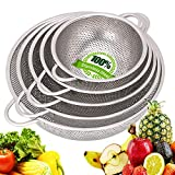 Colander Stainless Steel - Metal Colander with Handle - Mesh Colander Perforated Strainer for...