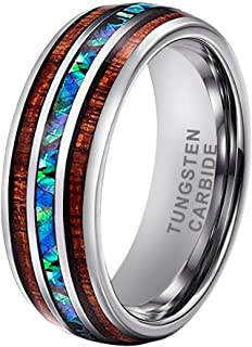 8mm Silver/Black Tungsten Rings for Men Women Wedding Bands Abalone Shell and Koa Wood Inlay Domed Polished Shiny Comfort Fit