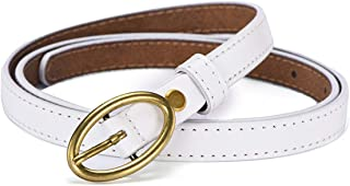 LUKEEXIN Women's Skinny Leather Waist Belt with Prong Buckle (Color : White, Size : 105cm)