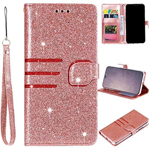 Bookstyle Bling Hülle für Samsung S10e,Glitter Glitzer Diamond Musterg Klassisch Modisch Leder Stand Funktion Kartenfach Magnetverschluss Flip Wallet
