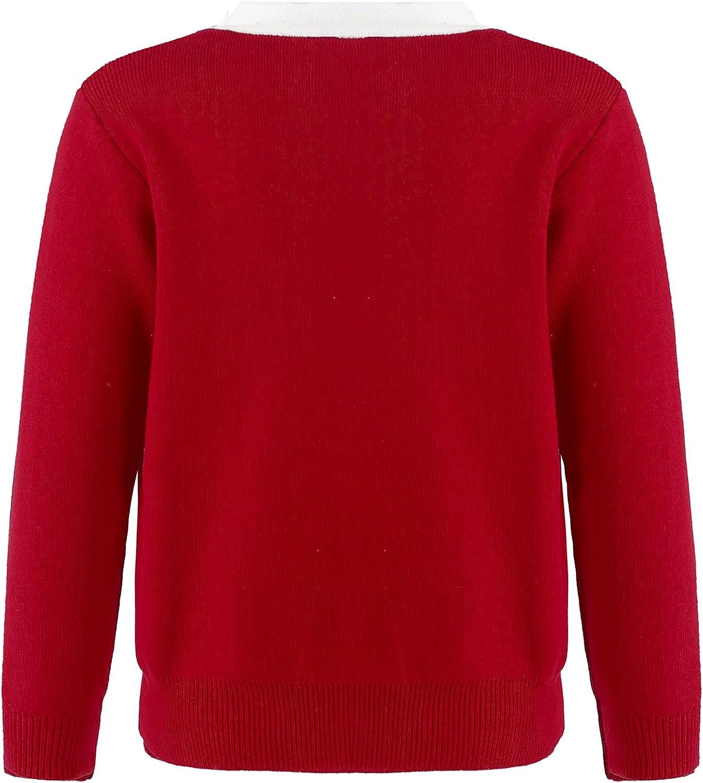 Jelory Kids Girls Knit Cardigan Sweater Long Sleeve Bowknot Button Down Sweater for School Uniform