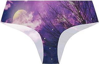 Randolph Wordsworth Tree Branches and Fireflies Galaxy Womens Stretch Seamless Underwear Laser Cut Bikini Panties