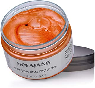 MOFAJANG Orange Hair Coloring Wax Temporary Hairstyle Cream 4.23 oz Hair Pomades Natural Hairstyle Wax for Men and Women (Orange)