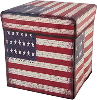 Folding Storage Ottoman, Cube Footrest with American Flag Print