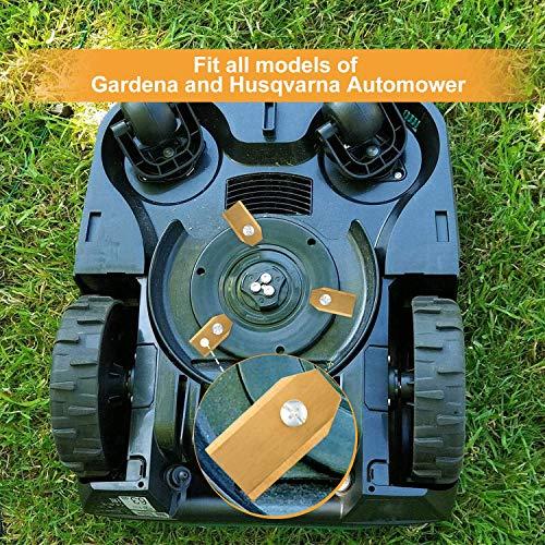 GWHOLE 18 Pcs Robotic Mower Replacement Blades with Screws for Gardena Flymo Husqvarna Automower Robotic Lawnmowers, 35 x18 x0.75 mm
