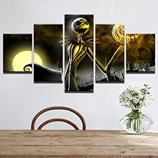 qingyuge 5 Panels Canvas Wall Art Canvas Wall Art Pictures Home Decor Living Room Halloween Poster 5 Pieces Hd Printed Nightmare Before Christmas Painting Framed