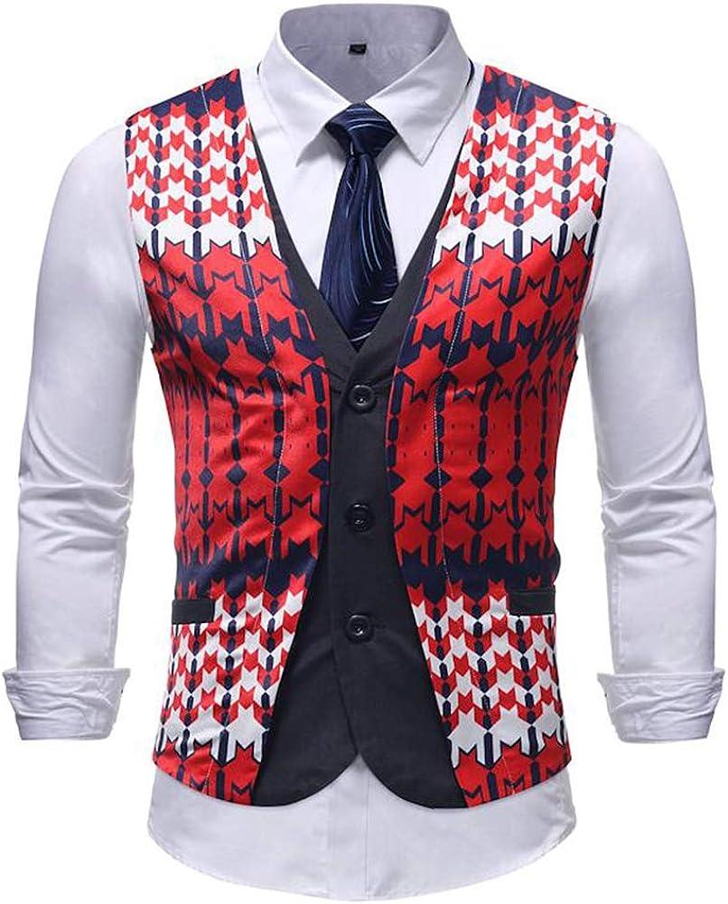 TOPG Men's Slim Fit Floral Print Suit Vest Dress Business Waistcoat Vests