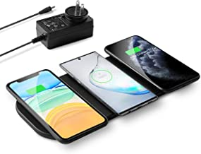 3x10W Wireless Charging Pad, Kexm Qi-Certified Ultra-Slim Fast Triple Wireless Charger Station for Multiple 3 Devices & New Airpods Leather W/AC Adapter for All Qi Enabled Phones(Black)