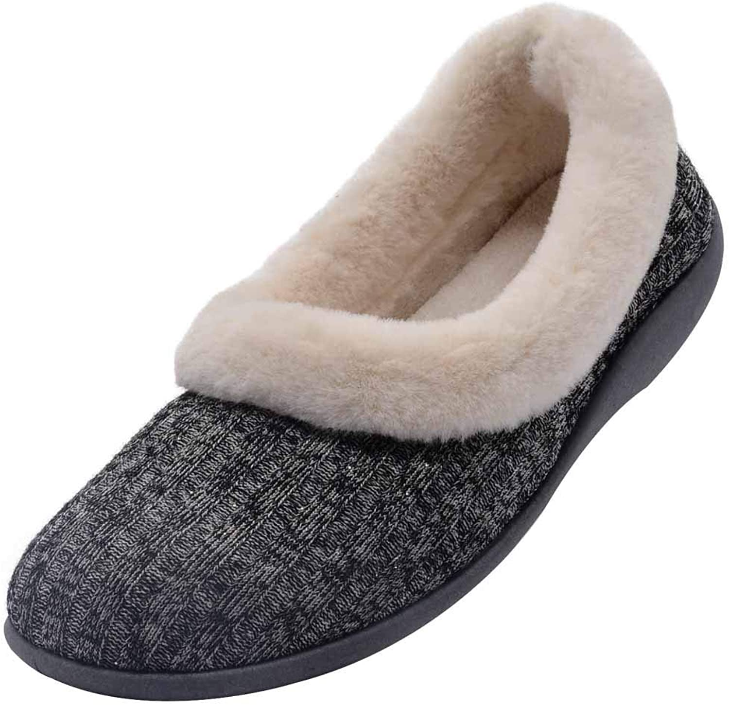 Wishcotton Women's Fuzzy Collar Soft Sole Slippers, House shoes with Cotton Knit Upper