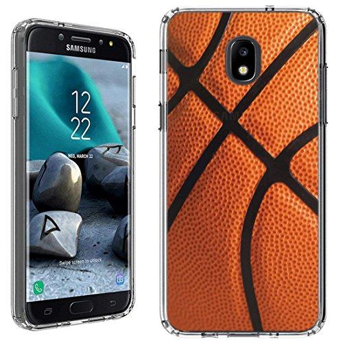 Case [Basketball](Clear) PaletteShield Flexible Slim TPU Skin Phone Cover (Compatible for Samsung Galaxy J7 2018 J7v/Star/Refine)