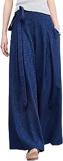 Aeneontrue レディース キュロットパンツ ワイドパンツ ジャカード地 麻 ウェストゴム ドロスト ロングパンツ ゆったり カジュアル パンツ ズボン 5色展開
