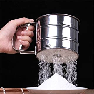 LIShuai Stainless Steel Mesh Flour Sifter DIY Manual Baking Icing Sugar Shaker Sieve Tool Cup Shape (Multi-Color,4.13