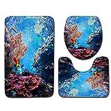 DREAMING-Underwater World Bathroom Mat Set de Tres Piezas 3D Antideslizante baño Mat tapete Puerta 50cmx80cm