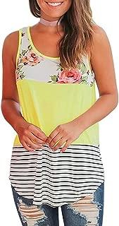 Tank Tops, FORUU Women Casual Summer Floral Stripe Printed Patchwork Vest Crop