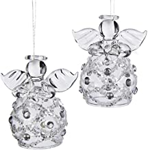 Kurt Adler Clear Glass Angel Ornament, 2.2-Inch, Set of 4