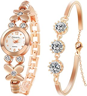 Souarts Womens Watch Bracelet Set for Her-Flower Design Rhinestone Quartz Analog Wrist Watch Bracelet Jewelery Set Gift Set Rose Gold Color