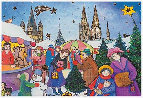 Adventskalenderkarten 5 Stück Karten Köln Dom Nostalgie Weihnachten Grußkarten Goldprägung Kunstkarte Weihnachtsgruß
