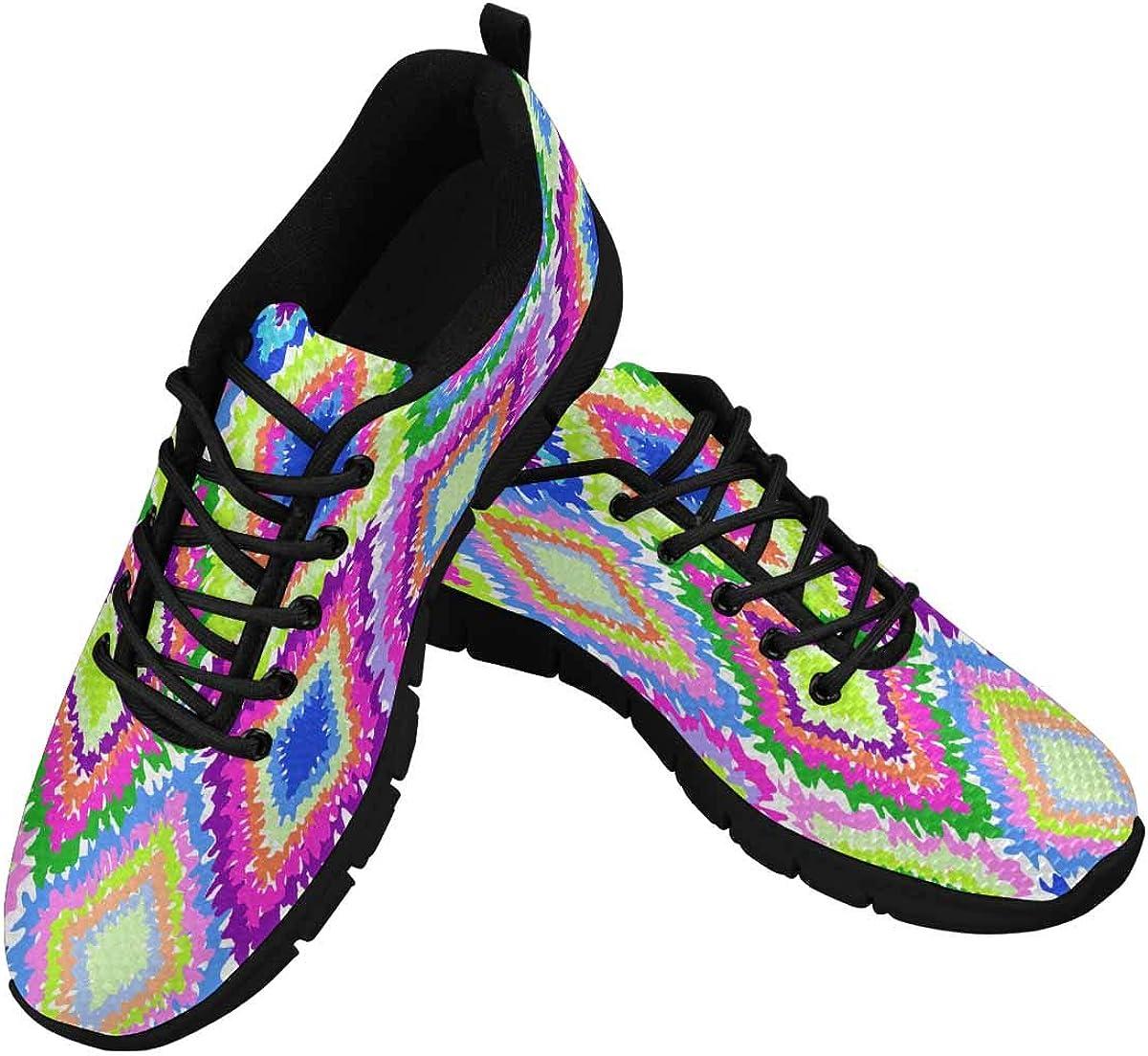 InterestPrint Neon Geometric Print Women's Breathable Sneaker
