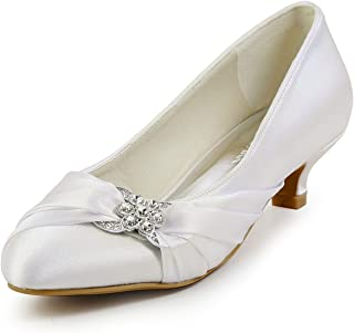 a22593d92fc ElegantPark Women Closed Toe Comfort Heel Rhinestone Satin Wedding Bridal  Shoes