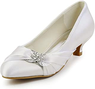 d1e70a6af74 ElegantPark Women Closed Toe Comfort Heel Rhinestone Satin Wedding Bridal  Shoes