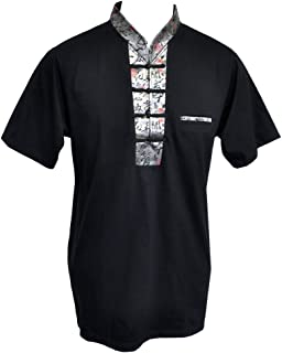 Amazing Grace Elephant Co. Men's Chinese Collar Traditional Top Cotton Tee Shirt