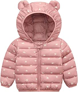 Drindf Baby Clothes Kids Winter Coats with Ear Hooded Trench Girls Boys Water-Resistant Windbreaker Outdoor Jacket Outwear