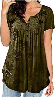 Women V-neck Short Sleeve Tops, Ladies Floral Printed Buttons Loose T-shirt Blouse Tunic Top