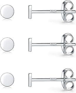 Sterling Silver Stud Earrings for Women Men Girls, 3 Pairs Tiny Flat Dot Earrings Set   Small Round Disc Stud Earrings Dai...