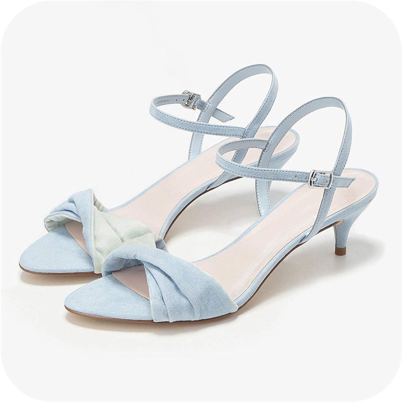 Summer Women Sandals Sweet 5.3CM High Heels Pink Flock Ankle Strap Sandals Big Size 40 K-346