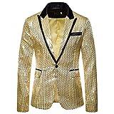 MERICAL Blazer da Uomo con Paillettes Oro Costume da Prestazione Abito da Sposa Casual Giacca a Maniche Lunghe(Giallo,XX-Large)