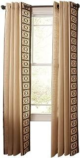 Buckwheat Flour Geo Border Grommet Curtain - 50 in. W x 84 in. L