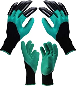 2 Pairs Garden Gloves with Fingertips Claws, 1 Pairs Gardening Gloves with Double Claws,1 Pairs Without Claws, for Digging and Planting, Outdoor Protective Work Gloves Medium Size fits Most. (Gloves)