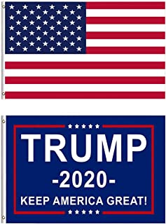 Berkshiled President Donald Trump Flag 2020 and American USA Flag Keep America Great Flag 3x5 Feet with Grommets (Color B)