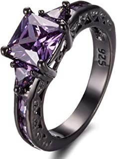 LALISA Princes Cut Purple Amethyst Engagement Band Ring 10KT Black Gold Filled Size5-11 (7)