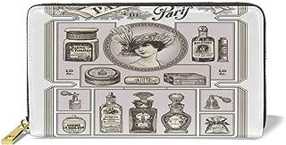 Women's Long Leather Card Holder Purse,Retro Style Perfumeries Poster Design In Pastel Colors European Culture,Elegant Clutch Wallet