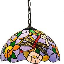 KANJJ-YU Pendant Lamps Pendant Light, European Dragonfly Flower Grapes Lights 11. 8 Inch Glass Light Fitting Compatible wi...