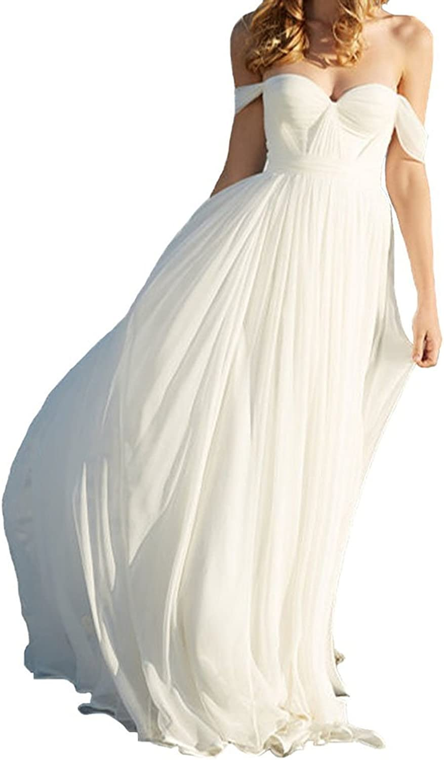 CharmingBridal Women's Sexy Off The Shoulder White Ivory Wedding Dresses