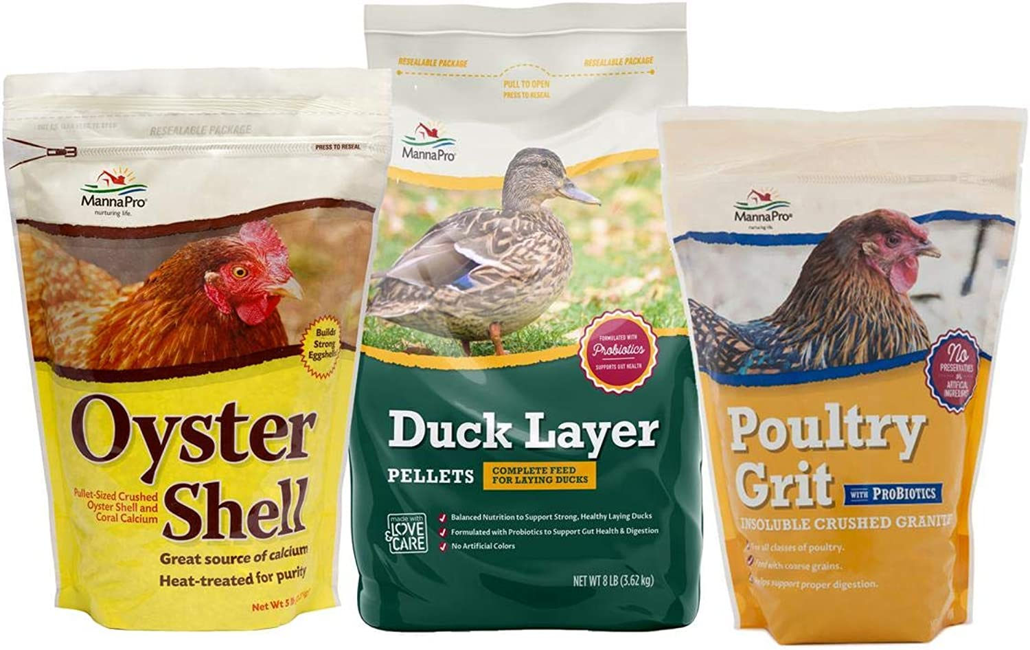 Manna Pro Duck Variety Pack, Contains Oyster Shell, Duck Layer, and Poultry Grit