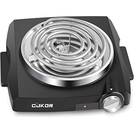 CUKOR Electric Single Coil Burner, Portable Hot Plate 1100 Watt Powered, Kitchen Cooktop with Non-Slip Rubber Feet - Perfect for Outdoor Cooking