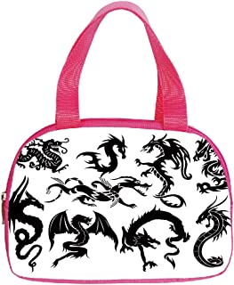 Multiple Picture Printing Small Handbag Pink,Japanese Dragon,Monochrome Style Cultural Oriental Creatures Fantastic Ancient Collection,Black White,for Girls,Comfortable Design.6.3