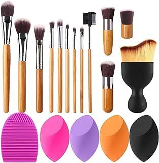 BEAKEY Bamboo Makeup Brush Set and Makeup Sponge Set Bundle