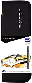 Prismacolor Premier Double Ended Art Markers, Chisel Tip and Fine Tip, Set of 24 Assorted Colors with Carrying Case (PM97)