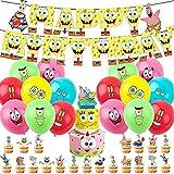Bob Esponja Decoración para Fiestas, 38 Piezas Globo Bob Esponja, Bob Esponja Suministros para Fiesta Cumpleaños Cake Toppers, Globo, Cumpleaños Banner Decoraciones Accesorios