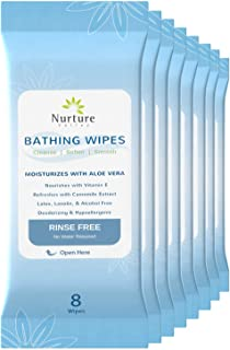 Rinse Free No Shower Bathing Wipes (8-Pack) | 64 Microwavable Adult Cleansing Body Bath Wash Cloths with Aloe Vera & Vitam...